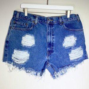 Destroyed Vintage Levi's 505 High Waist Mom Shorts